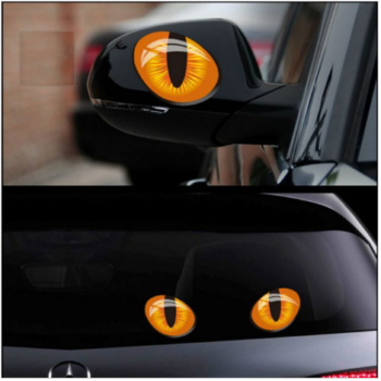 2 Pcs Cat Eyes Vinyl Car Stickers Set