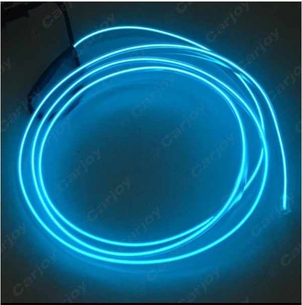 Blue 1m Flexible Moulding EL Neon Glow Lighting Rope Strip With Fin For Car Decoration