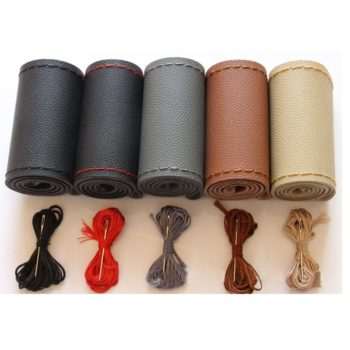 DIY Car Leather Steering Wheel Covers Braid on the Steering-wheel Auto Cover With Needle and Thread Interior Accessories Kits